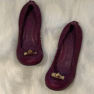 Tory Burch Leather Scrunch Heel Logo Ballet Flats